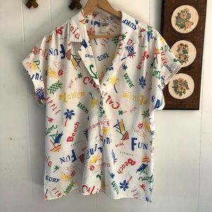 Vintage Sunny Tourist Button Down Top